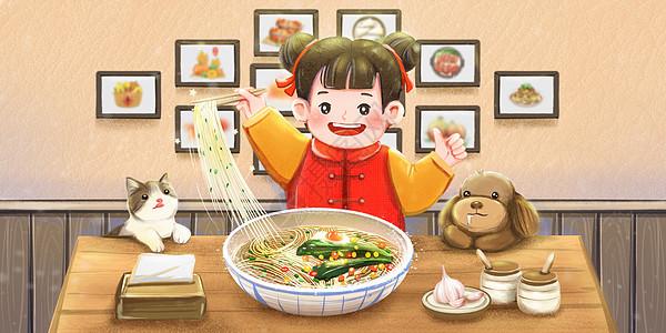 二月二龙抬头女孩在面馆吃龙须面图片