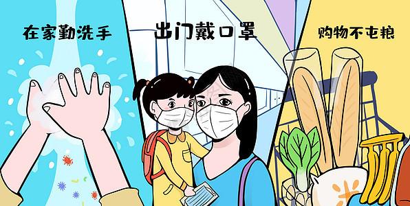 肺炎病毒预防科普插画图片
