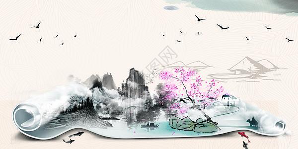 水墨中国风卷轴图片