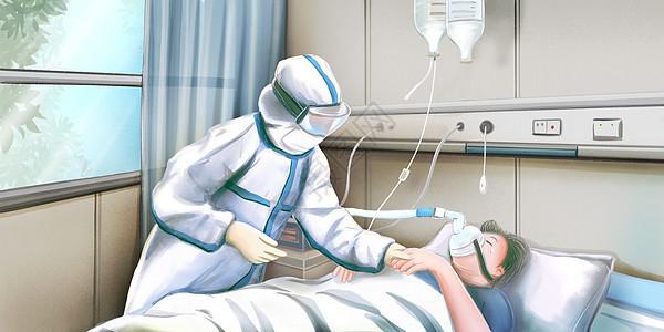 病房里护士穿着防护服照顾肺炎病人图片