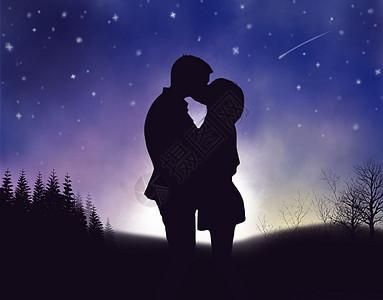 星空下接吻的情侣图片