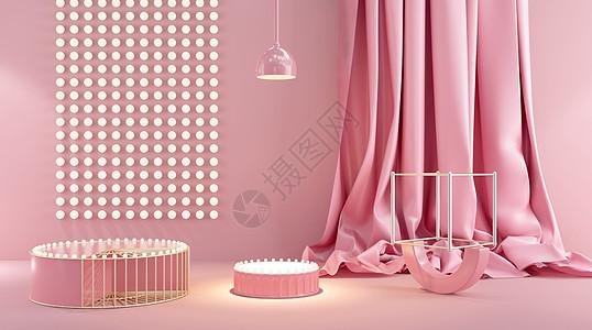 粉色立体展台图片