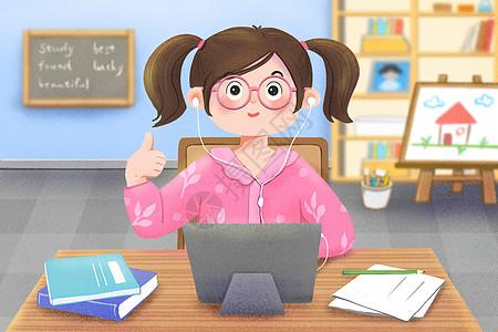 学生在家用平板电脑在线学习上网课图片