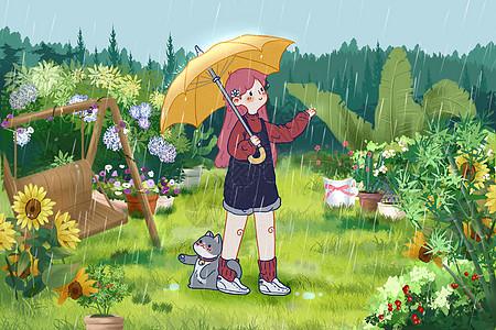 春天打伞赏雨的女孩图片