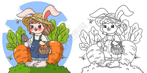 春天拔萝卜的小兔子填色插画图片