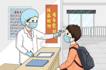 车站检测体温抗击疫情图片
