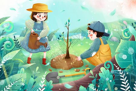 清新植树节孩子们种树春季环保插画图片