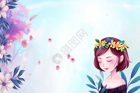 春姑娘低头微笑插画图片