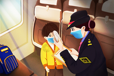 疫情期间列车员为旅客测量体温图片