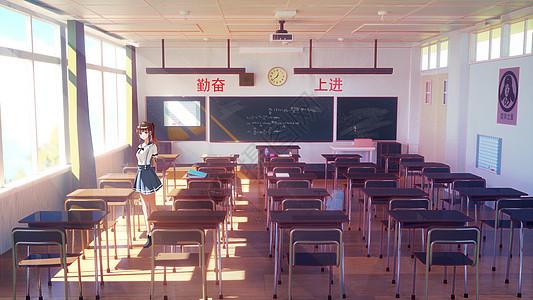 教室青春少女毕业季图片