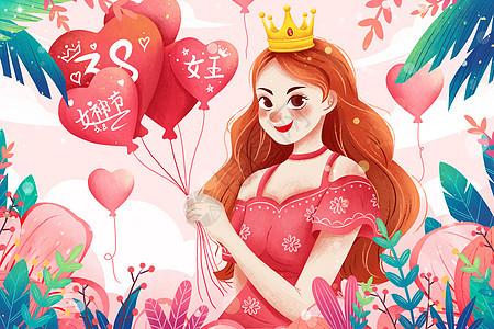 38女神节拿着气球女孩插画图片