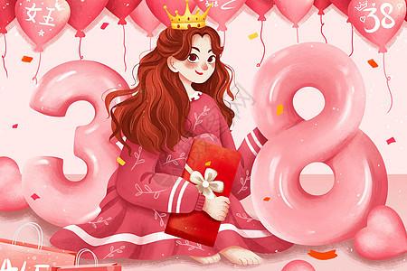 粉色38女神节女孩与气球插画图片