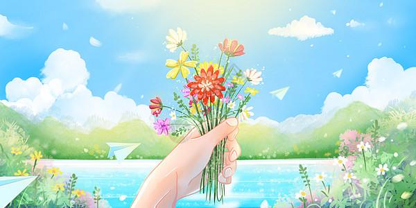 春天踏青天气晴朗野花盛开图片