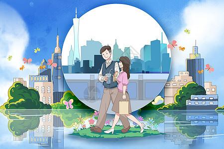 城市中散步的情侣图片