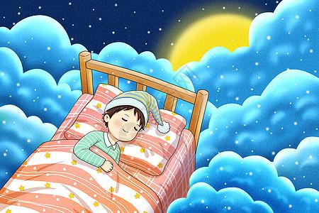 在云中睡觉的小孩图片