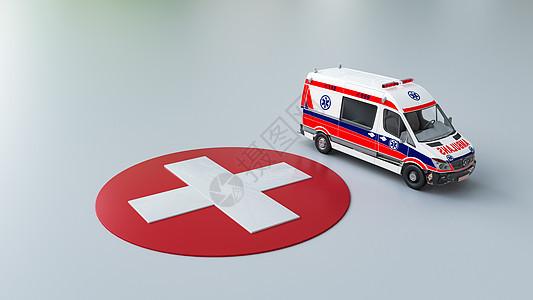创意救护车医疗场景图片