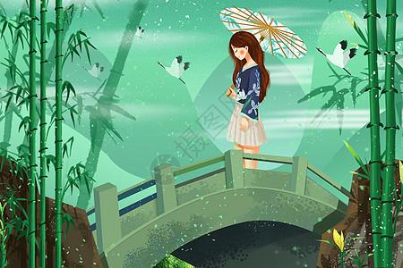 清明节撑着油纸伞的女孩图片