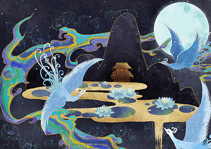 烫金中国风飞鸟睡莲图片