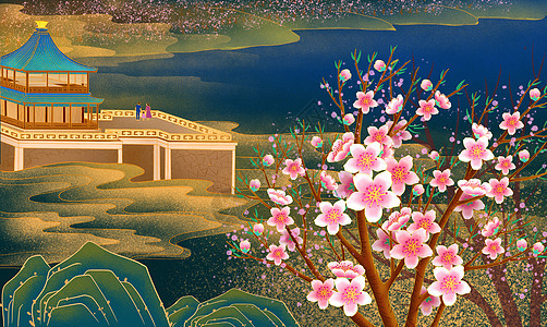 烫金桃花源中式庭院楼阁房地产插画图片