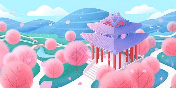 春天春分江南的桃花林图片