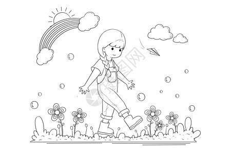 黑白线描简笔画小女孩春游图片