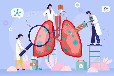 疫情期间创意医生治疗肺部矢量扁平插画图片