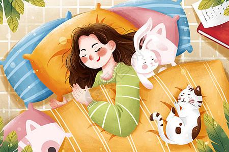 睡眠日睡觉女孩与猫咪插画图片