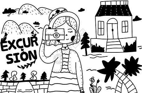 简笔画郊游的女孩图片