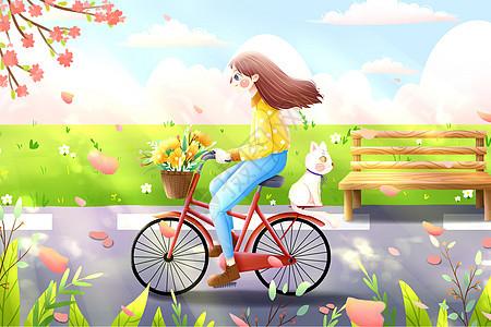 春季小女孩骑自行车手绘插画图片