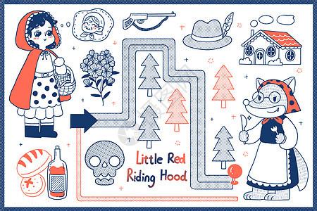 简笔画小红帽的故事图片