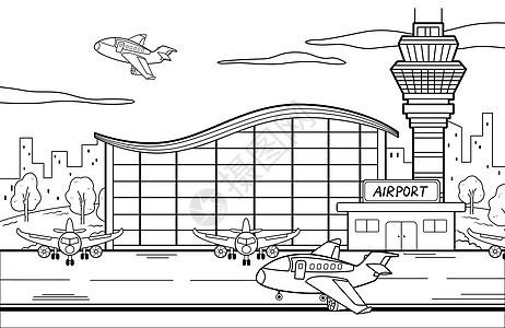 飞机场场景简笔画图片
