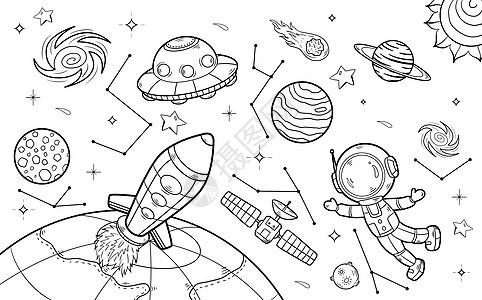 太空之旅简笔画图片