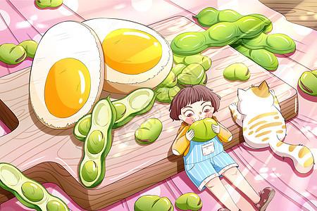 二十四节气立夏蚕豆手绘插画图片