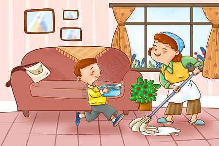 劳动节陪妈妈收拾屋子图片