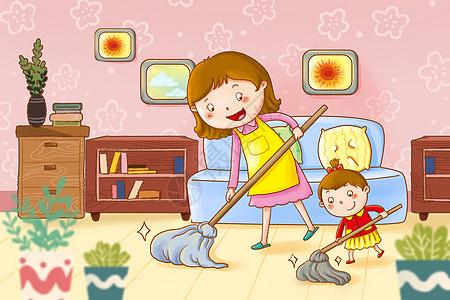 帮妈妈收拾家务的孩子图片