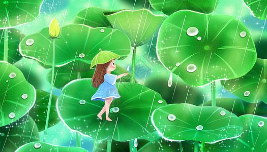 谷雨在荷叶上看雨的女孩图片