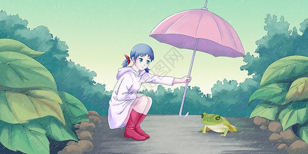 谷雨撑伞的女孩图片