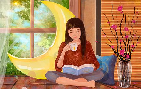 靠窗看书的女生图片