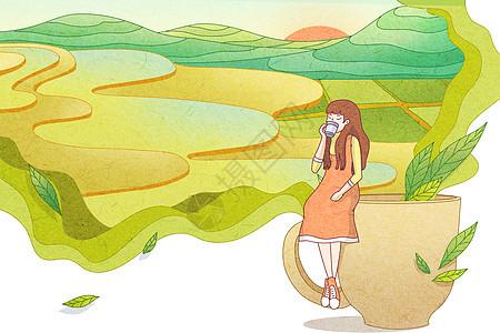 谷雨茶唯美小清新插画图片