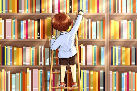 踩着梯子拿书的小孩图片