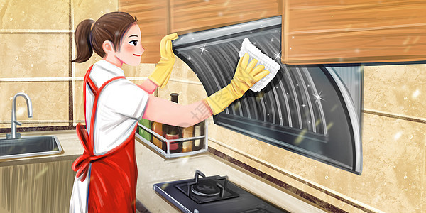 清洁厨房做家务的女人图片