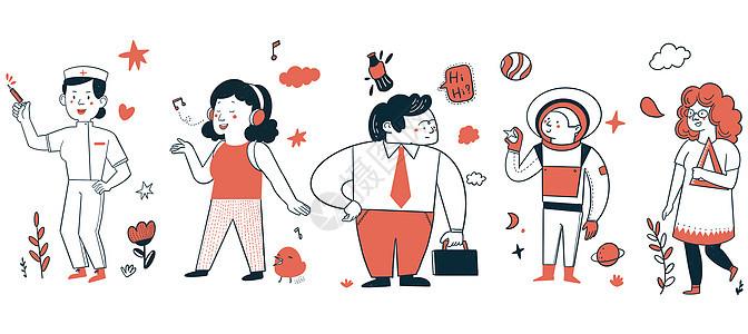 五一劳动节职业简笔画人物图片