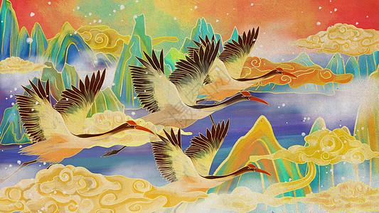 中国风仙鹤手绘背景图片