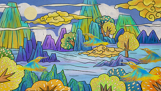 中国风山水风景插画背景图片