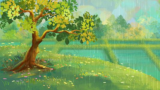 谷雨通用风景背景图片