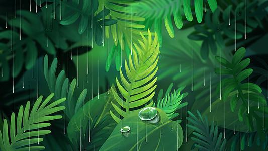 雨天植物手绘图片