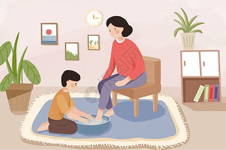 母亲节给妈妈洗脚手绘插画图片
