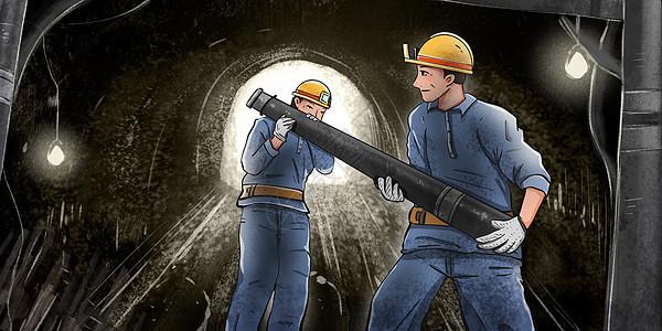 在矿井里辛苦干活的煤矿工人图片