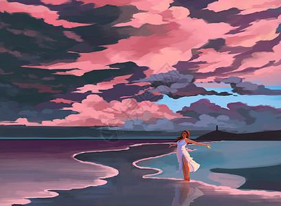 海滩边夏天的风图片