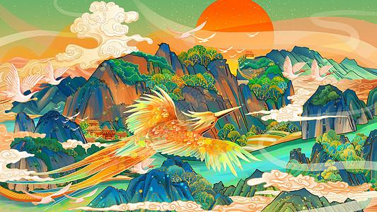 中国风龙虎山手绘图片